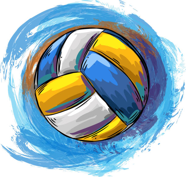 Drawing of Volleyball. Elements are grouped.contains eps10 and high resolution jpeg.